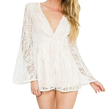 66cf58ff62b11 Image Unavailable. Image not available for. Color: Fashion Women's Sexy Lace  V Neck Long Flare Sleeve Cover Up Rompers Jumpsuit (White,