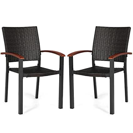 Pleasing Amazon Com Heize Best Price Dark Brown 2Pcs Patio Dining Squirreltailoven Fun Painted Chair Ideas Images Squirreltailovenorg
