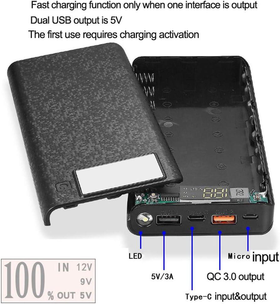Black LHIABNN DIY Power Bank 8 x 18650 Flat Head Battery Charger,2 USB Output Ports Plastic Shell Box with LCD Display,Micro//Phone//Type-c Input Port Power Bank Box with Flashlight