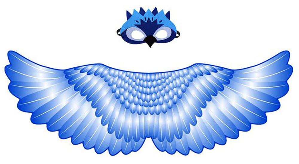 Ababalaya Halloween Party Dress up Costumes Macaw Owl Velvet Cape Cloak Mask Set for Kids,Owl-2