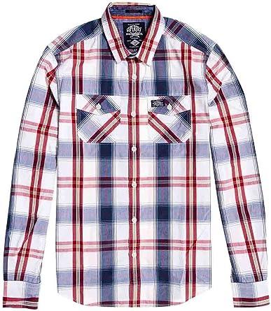 Superdry Camisa Washbasket Blanco Cuadros Hombre: Amazon.es: Ropa y accesorios