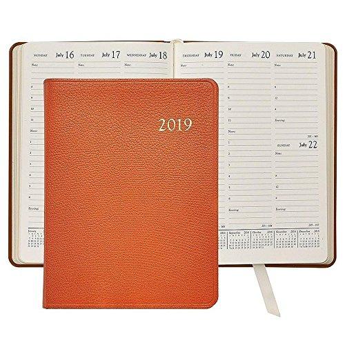 2019 Desk Diary / Organizer / Appointment Book, Genuine Goatskin Leather, 9