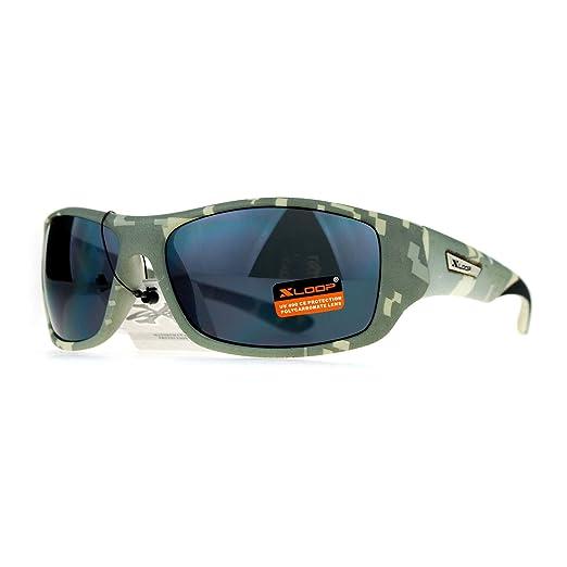 1dd981cf79 Xloop Army Digital Camouflage Warp Plastic Biker Style Sunglasses Grey Camo
