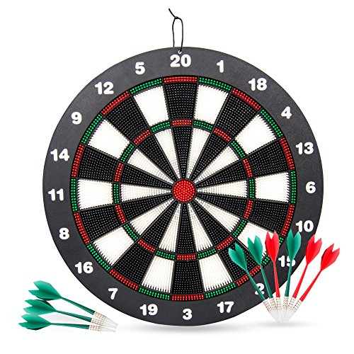 Victostar Safety Dart Board Set for Kids,16.4 inch Rubber Dart Board with 9 Soft Tip Darts for Kids,Great for Office and Family by Victostar