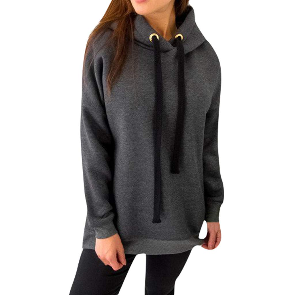 Women's Casual Zip-up Hoodie Basic Long Sleeve Hoodie  LIM&Shop Oversized Sherpa Pullover Hoodie 1/4 Zip Sweatshirt Gray by LIM&SHOP-Women Tops