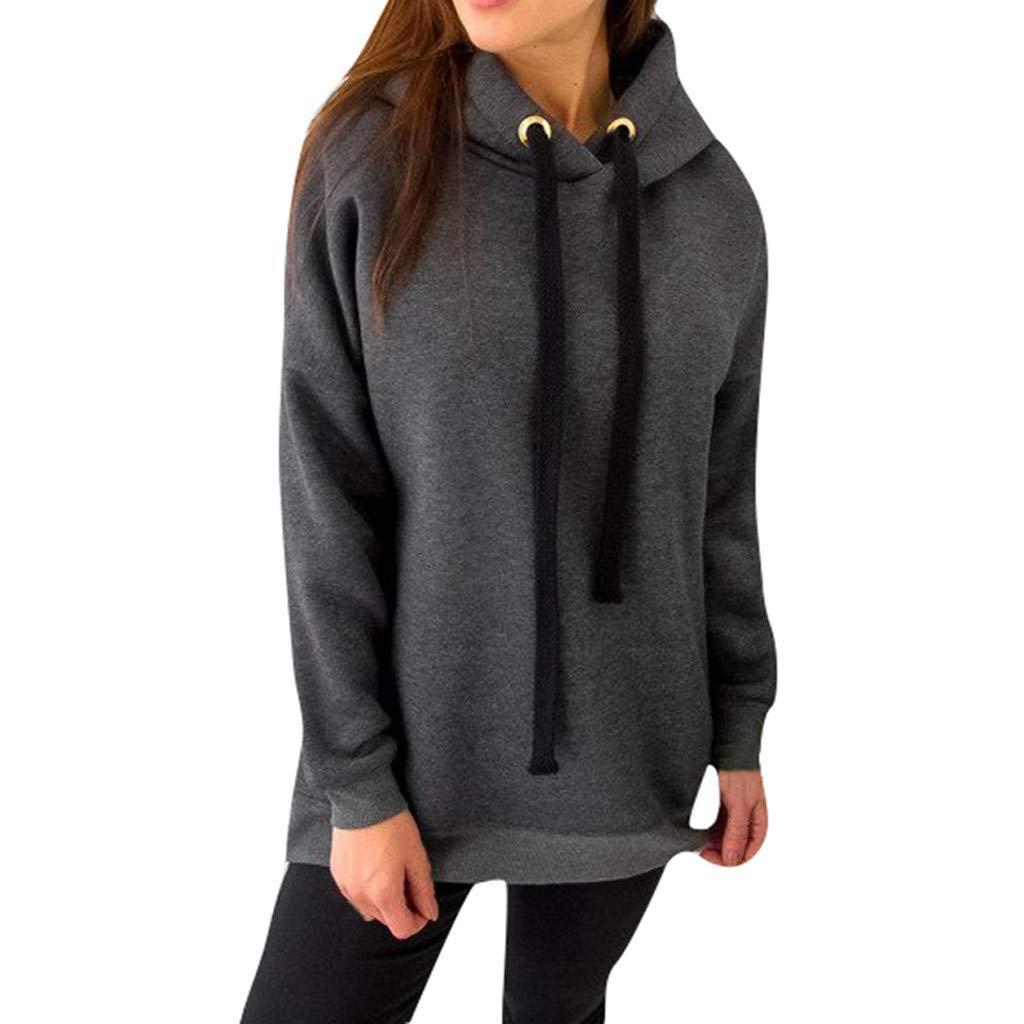 Jushye Hooded Tops,Women Solid Long Sleeve Hoodies Pullover Ladies Sweatshirts Zipper Shirts Sweater Blouse (XXXL-US:14, Gray)