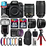 Holiday Saving Bundle for D7500 DSLR Camera + 70-300mm G Lens + AF-P 18-55mm + Flash with LCD Display + 6PC Graduated Color Filter + 2yr Extended Warranty + 32GB Class 10 - International Version