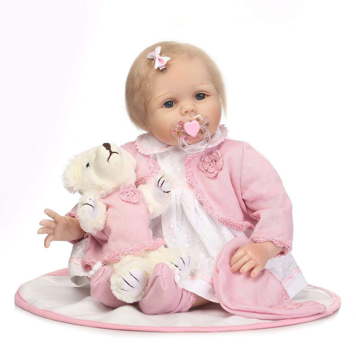 Kongqiabona 55 cm Kinder Reborn Baby Puppe Weiche Silikon Lebensechte Neugeborene Puppe Mädchen Nettes Geburtstagsgeschenk Für Kinder Mädchen