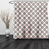 HAIXIA Shower Curtain Peach Symmetrical Circular Shapes Pattern Abstract Background Soft Color Image Print Coral Black White