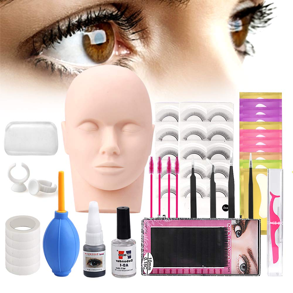 Lash Eyelash Extension Kit Professional Mannequin Head Training For Beginners Eyelashes Extensions Practice Cosmetology Esthetician Supplies with Mink Individual Eye Lashes Glue Tweezers Tools Case