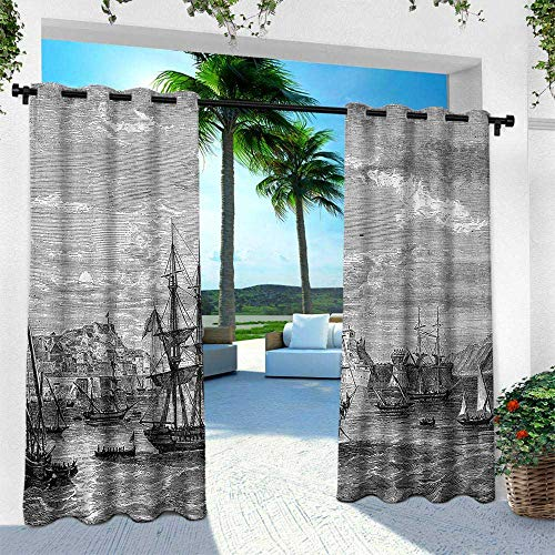 (Hengshu Antique, Exterior/Outside Curtains,Departing from Elba Vintage Engraved Illustration History of France Sails Vessels, W84 x L96 Inch, Black Grey )
