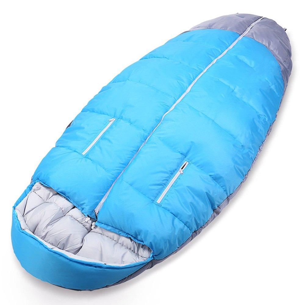 GYL SHUIDAI LWFB Schlafsack Erwachsene Outdoor Camping Wandern verdicken Widen Winter Baumwolle Schlafsack mit Kompression Tasche blau (210  100 cm) Mumienschlafsäcke