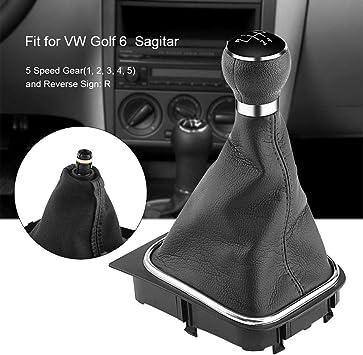 Qiilu 5 Speed Car Gear Shift Knob Gearstick Gaiter Boot Kit
