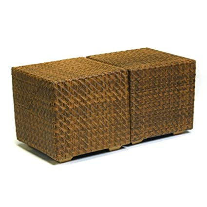 898cd0a32261 Image Unavailable. Image not available for. Color  Woodard Wicker Cube Side  Table - 21 Cubic Inches ...