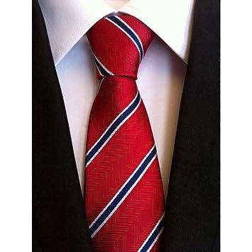 WOXHY Corbata 8 cm Corbata para los Hombres de Rayas Azul Blanco ...