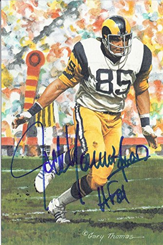 9a23ae829 Jack Youngblood Autographed Los Angeles Rams Goal Line Art Card HOF Blue