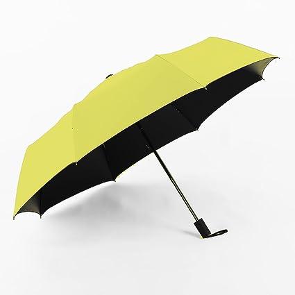 JINZA Paraguas amarillo tríptico/Cómodo/Translúcido/Negro interior/Sombrilla plegable/Parasol