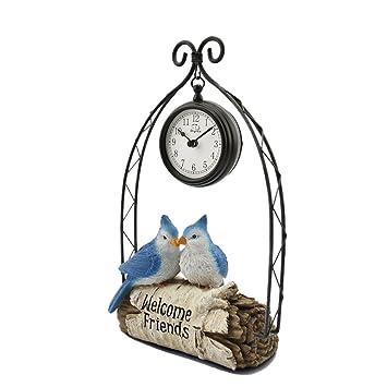 SESO UK- Loro de Hierro Creativo Reloj de Mesa Relojes Decorativos de Escritorio silencioso y silencioso para Dormitorio: Amazon.es: Hogar
