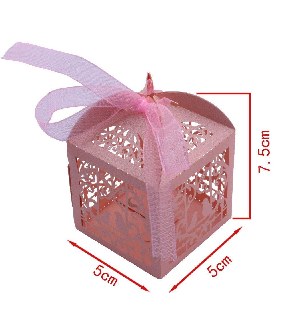 Amazon.com: DriewWedding 50PCS Wedding Bridal Favor Gift Candy Boxes ...