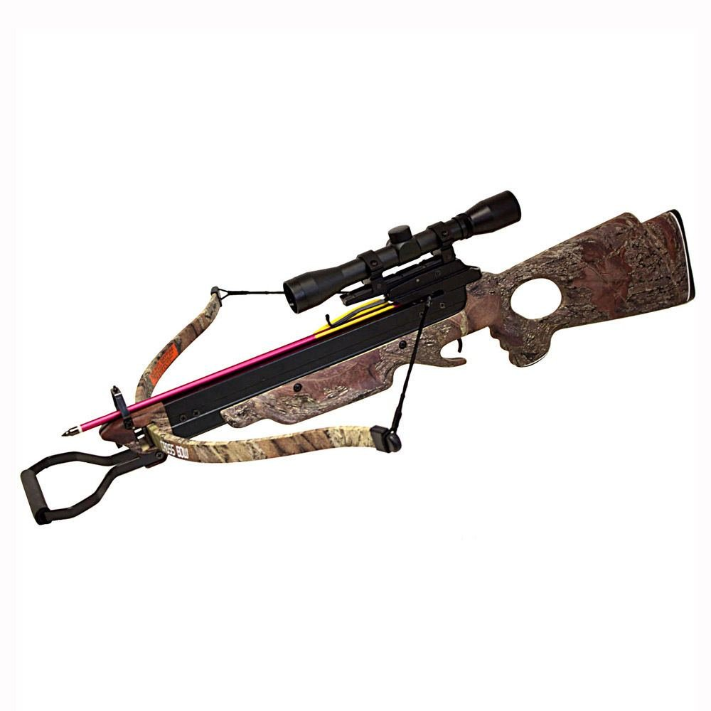 Hunting Crossbows 150lb Wizard Camouflage Brown Hunting Crossbow 8x Arrows/Bolts and 4x32 Scope Crossbow Bolts