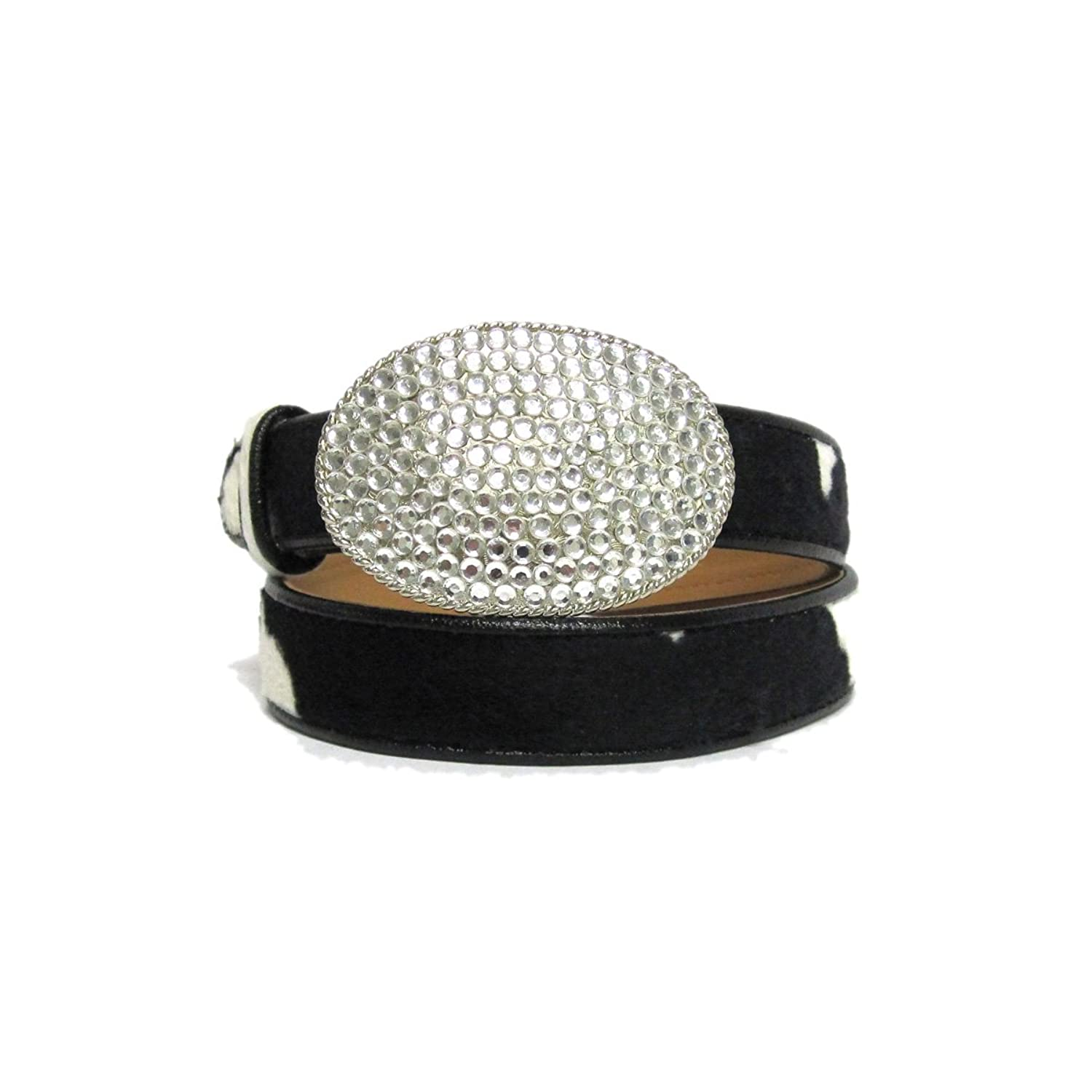 """1 1/8"""" Women's Large Oval Silver Buckle with Rhinestones on Quality Cow Faux ..."""