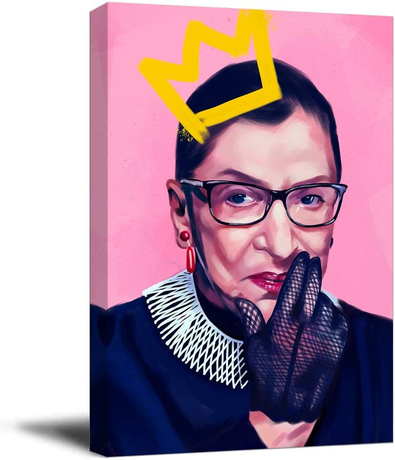 """Ruth Bader Ginsburg Office Wall Decor Artwork Art 16"""" x 24"""" Wooden Framed Portrait Poster RBG Feminist Art Print Chic Office Art, Stretched and Ready to Hang"""