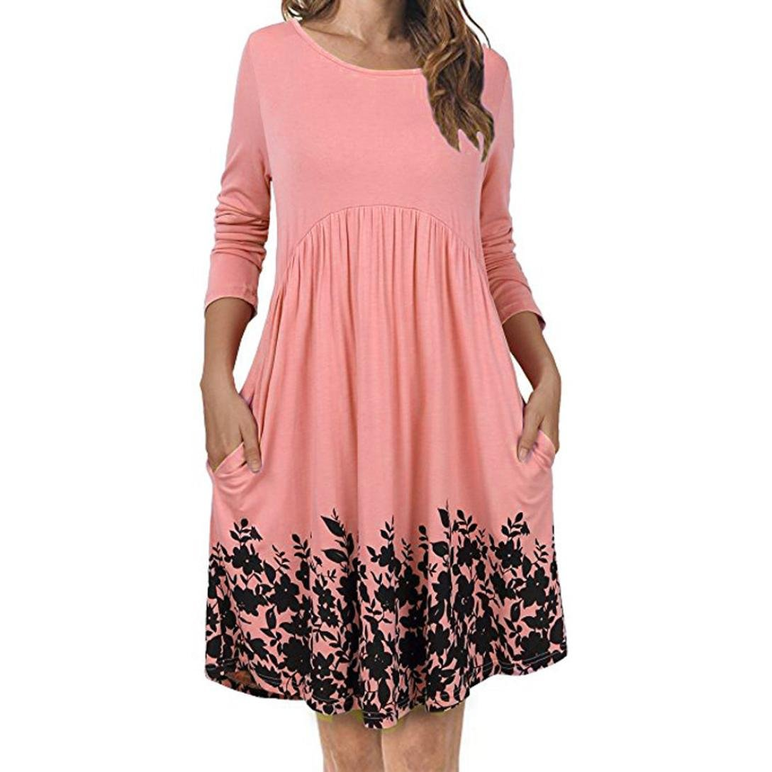 Swing Dress, Changeshopping Women's Mini Pockets Long Sleeve Floral Pleated CHANGE-1679712