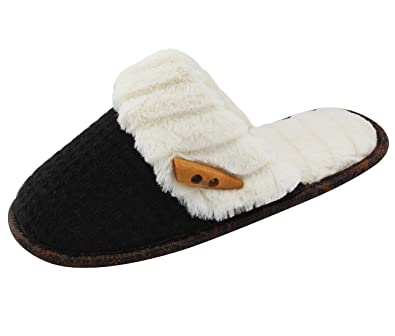 Women Slippers Cozy Plush Fleece Slip On Indoor House Slippers