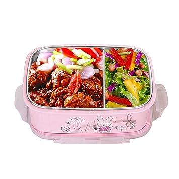 OldPAPA bento Box,fiambreras para niños,Caja Bento de Acero Inoxidable - Fiambrera con 2 Compartimentos - A Prueba de Fugas, Apta para lavavajillas: ...