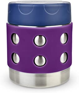 LunchBots Thermal 8 oz Triple Insulated Food Container - Hot 6 Hours or Cold 12 Hours - Leak Proof Thermos Soup Jar - All Stainless Interior - Navy Lid - Purple Dots