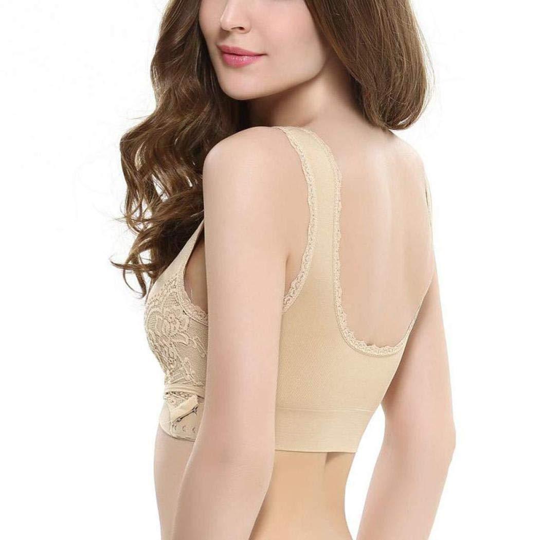 Goodfans Women Cross Push-up Sporting Bra Front Side Buckle Lace Full Cup Underwear Sports Bras Nude