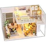 KKmoon Casa de bonecas em miniatura DIY com móveis e luzes LED Casa de boneca de madeira 3D Criativa Festivais de aniversário