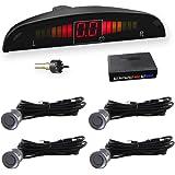 CAR ROVER® Asistente de aparcamiento Revertir Sensor con visualizador con sonido y 4 sensores, Color Gris