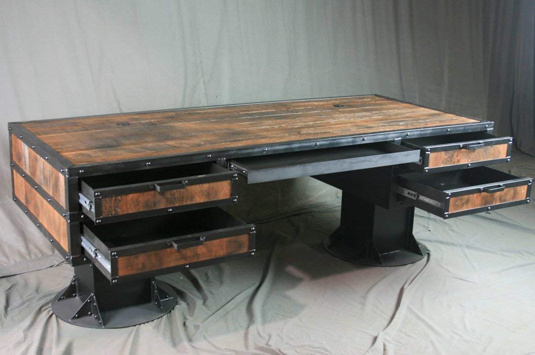 Phenomenal Amazon Com Vintage Industrial Wooden Desk With Drawers Home Remodeling Inspirations Gresiscottssportslandcom