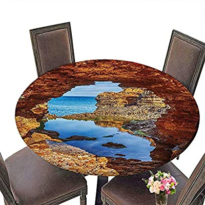 "Polyester Tablecloth (Elastic Edge) Suitable for All Occasions, (29.5"" Round) Seaside Decor Cavern Rocks by The Pacific Waters with Stunning Australian Sea and Sky Landscape Road Cream Blue."