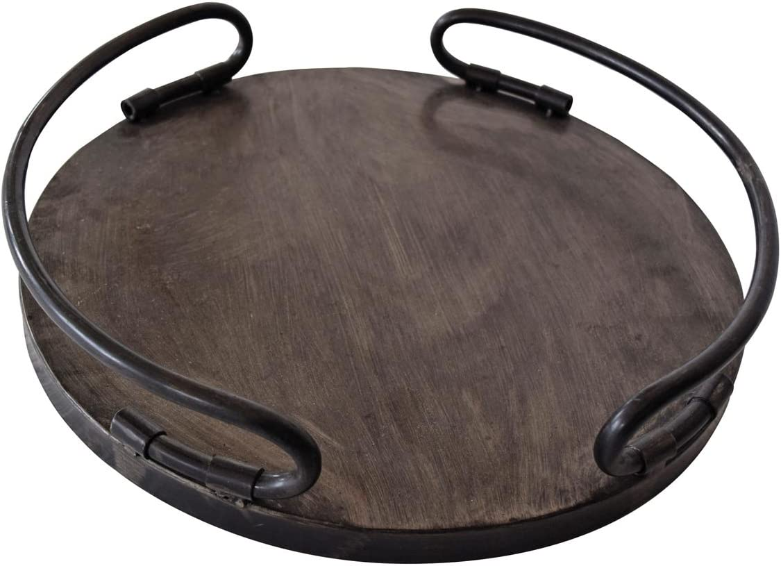Foreside Home & Garden Round Metal Decorative Tray, Small