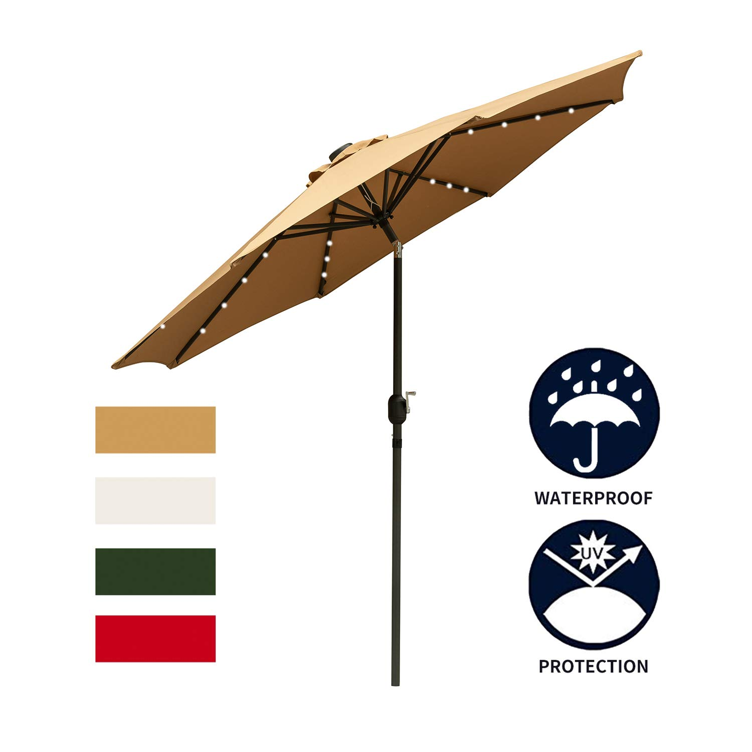 Ainfox 9ft Solar Patio Umbrella with LED Light, Steel Umbrella Ribs Waterproof Prevent Bask in for Garden, Indoor, Outdoor Use Without Base (Brown) by Ainfox