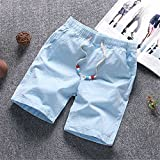 Madehappy Cool Summer Beach Pants Shorts Mens Cotton Linen Running Shorts Elastic Five-Point Trousers Pure Color Running Short 5 L
