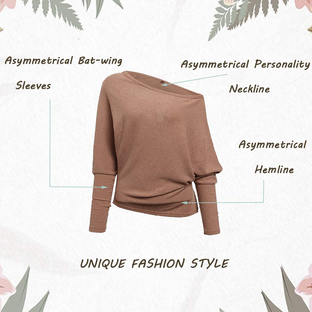 VOIANLIMO Women s Off Shoulder Knit Jumper Long Sleeve Pullover ... 233a6c0b0