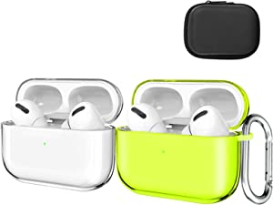 Valkit Compatible AirPods Pro Case Cover, Clear Airpod Protective Soft TPU Case with Keychain Shockproof Cover Case for Apple Airpods Pro Charging Case [Front LED Visible]-2 Pack(Clear+Yellow)