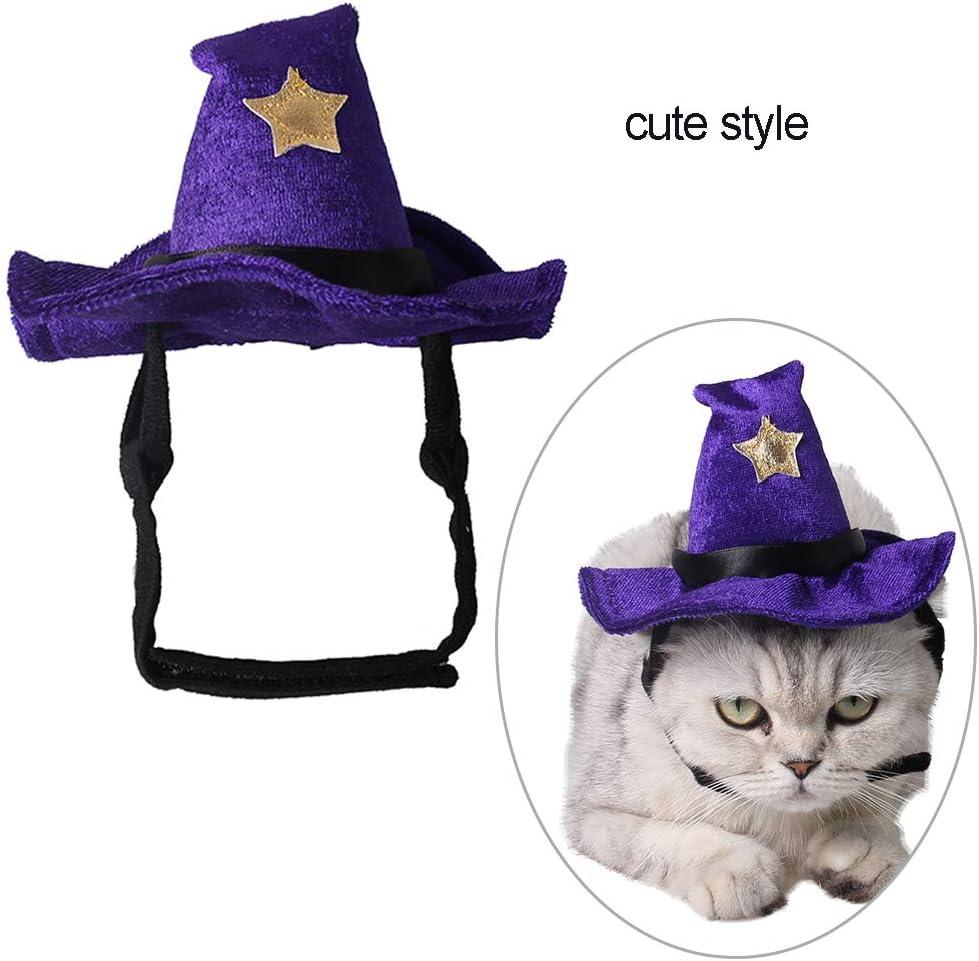 Ouken Cat Hat Lovely Halloween Adjustable Pet Hat Cat Witch Hat Pet Wizard Headwear Cats Party Costume Pet Costume Accessory 1PC Purple
