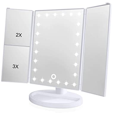 Wondruz Makeup-Mirror001 Trifold Mirror (White 2018 Upgraded Version with 24 lights