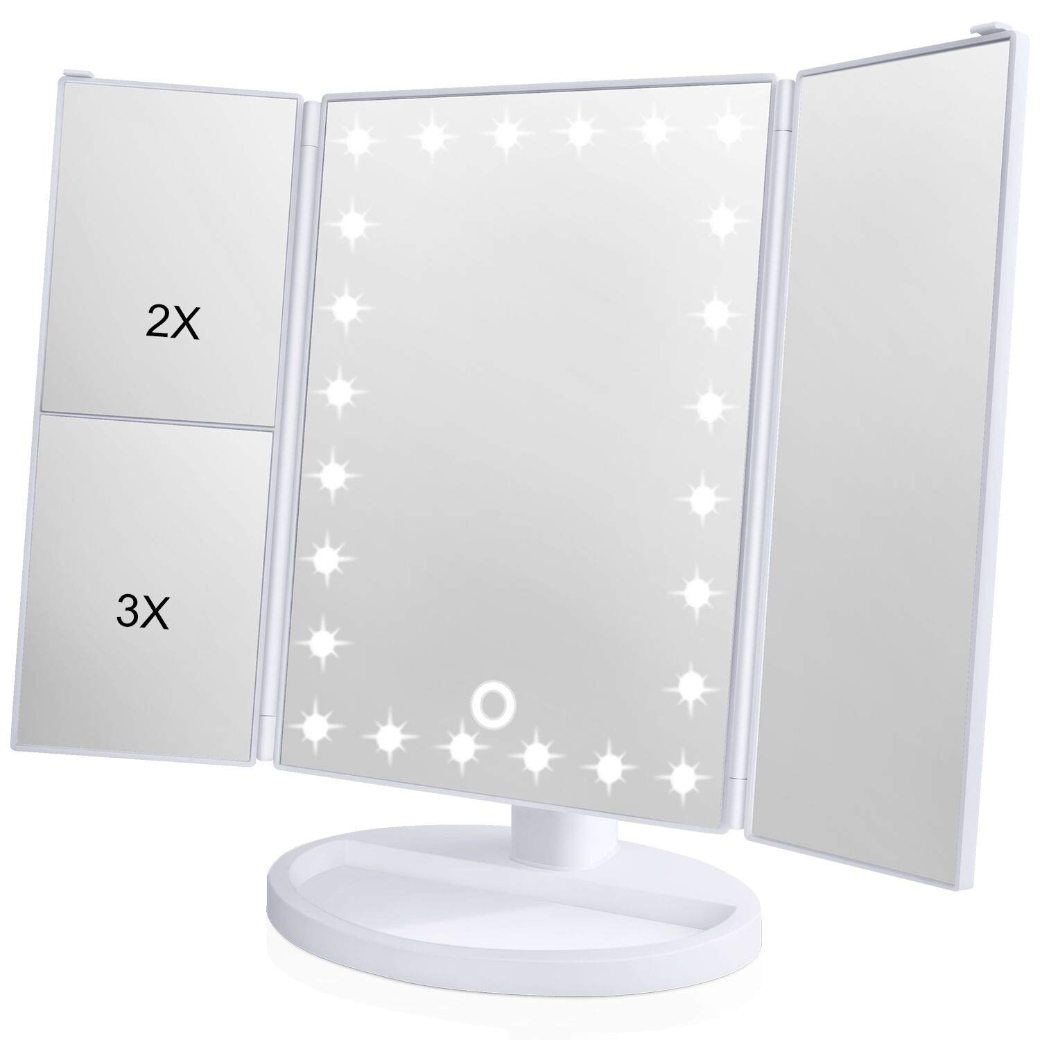 [2018 Upgraded Version] Lighted Makeup Mirror, Wondruz 24 Led Lights Vanity Mirror with Lights and Magnification (2x/3x), Touch Screen, 180° Rotation,Dual Power Supply, Trifold Mirror (White)