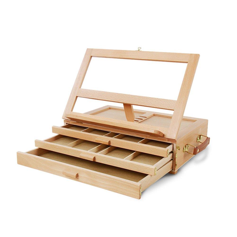 LXLA- LXLA- 3段引き出しタイプイーゼルデスクトップ絵画ボックス木製ポータブルスケッチパッドスタンドブナキャンバスラック40×27×13cm B07DL7DMDD B07DL7DMDD, 人気商品:923b84cf --- ijpba.info