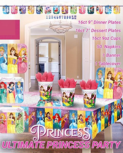 Ultimate Disney Princess Party!!!Birthday Party Decoration Supplies Bundle Pack with 16lg&16sm Plates 16-9oz Cups, Matching Table Cover&Jumbo Banner,50 Napkins(Bonus Matching Party Straw Pack)
