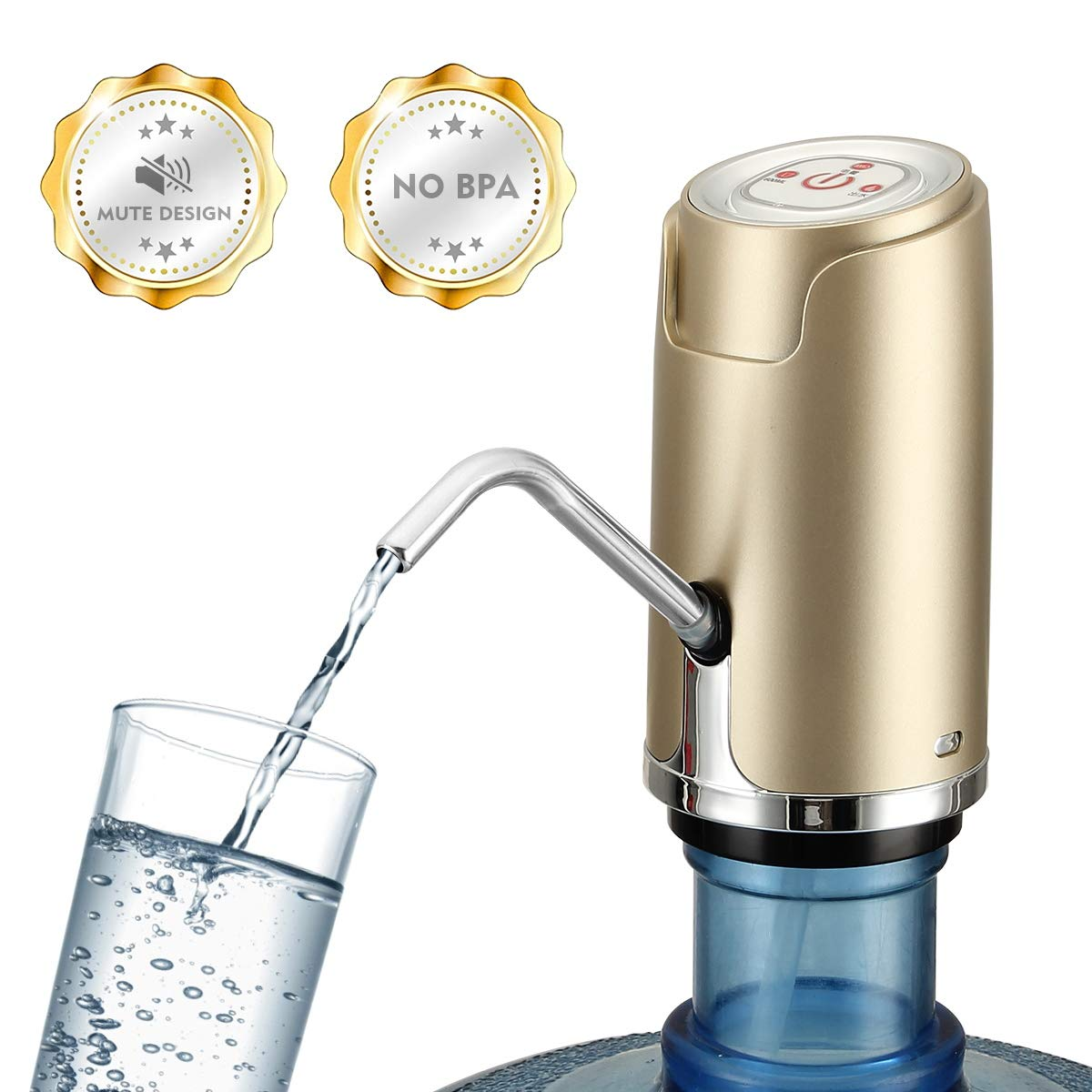 【Upgraded Version】Water Bottle Pump, USB Charging Water Dispenser-Protable Compact Electric Drinking Water Pump, Silent Design-Fits for 2 to 5 Gallon Universal Water Bottle