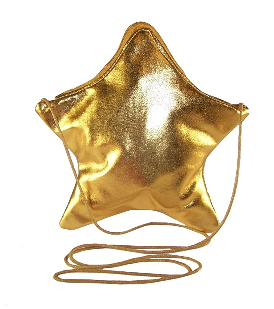 Girls childrens kids gold shiny PU star shaped over the body party dressing up handbag Sparkle Club goldstar