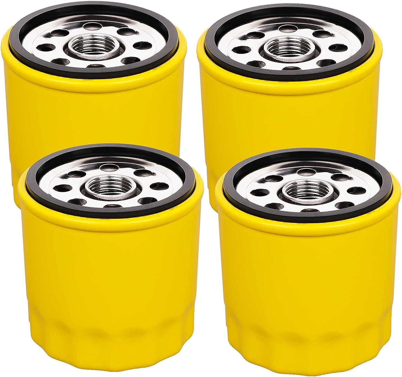 HOODELL 4 Pack 52 050 02-S Oil Filter Fits Kohler Engine, Professional 52 050 02 5205002S 52 050 02-S1 Oil Filter, Extra Capacity Lawn Mower Oil Filter