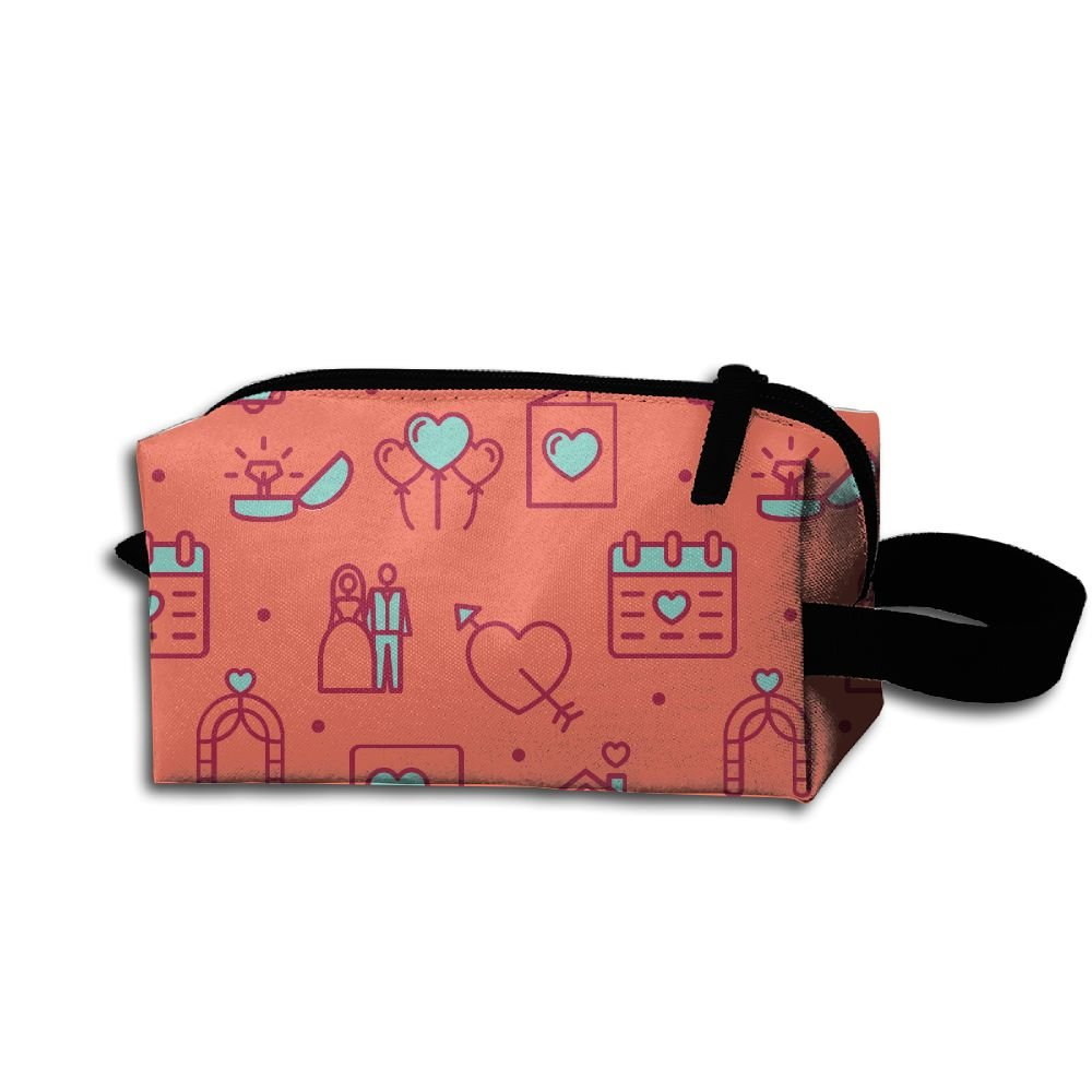 TO-JP Wedding Love Pouch Portable Toiletry Bag Cosmetic Makeup Organizer