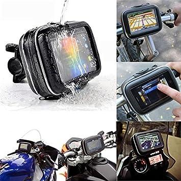 Resistente al agua Soporte para bicicleta, Universal para bicicleta manillar teléfono, 5 pulgadas bicicleta motocicleta gps impermeable bolsa con soporte de ...